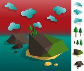Illustration Of Geometric Island Archipelago Landscape