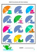 Match to shadow visual puzzle - gumboots, umbrella
