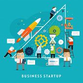 Business Startup Vector Illustration. Flat Style Design. Mobile Technologies, Time and Money Managem