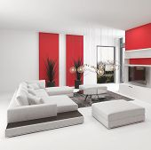 Upmarket modern living room interior with vivid red accents and white decor with a comfortable modul