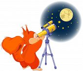 Illustration of very cute squirrel is watching into telescope