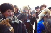 Nura, Kazakhstan - February 23: Praying Group Of Man In Nura Near Almaty On February 23, 2013 In Nur