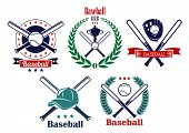 foto of ball cap  - Baseball sporting heraldic emblems with crossed bats - JPG