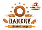 Brown and orange bakery emblem