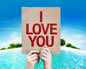 I Love You card with a beach on background