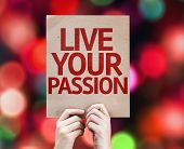 Live Your Passion card with colorful background with defocused lights