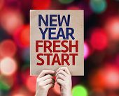 New Year Fresh Start card with colorful background with defocused lights