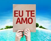 I Love You (In Portuguese) card with a beach on background