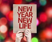 New Year New Life card with colorful background with defocused lights