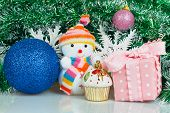 Snowman With Blue Ball, Pink Gift Box And White Snowflake