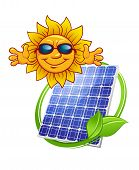 Solar panel with cartoon sun