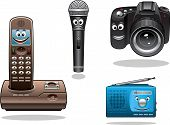 Gadgets and devices in cartoon style