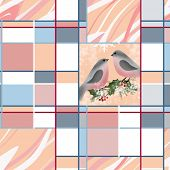 Bullfinch On Branch Holly Greeting Christmas Card Texture Background