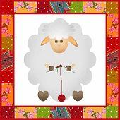 White Sheep Patchwork Pattern Background Border Illustration