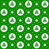 Seamless pattern. Ornament with Christmas trees and dotted rhombuses. Holiday background.