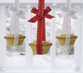 Festive mince pies at Christmas tied with ribbon