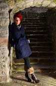 Redhead Girl On Stone Stairways