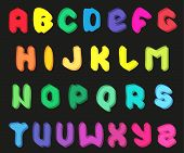 Creative multicolor alphabet set on black background. Vector illustration EPS 10