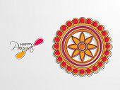 South Indian harvesting festival, Happy Pongal celebrations with colorful floral design decorated rangoli on grey background.