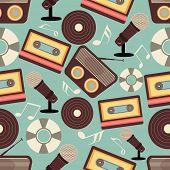 Retro musical instruments seamless pattern.