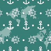 Seamless pattern of blue sea anchors and wheels