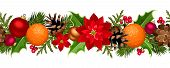 Christmas seamless garland with balls, holly, poinsettia, cones and oranges. Vectgarland_11_eps8.eps