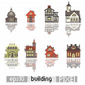 Set of Pixel art isometric building
