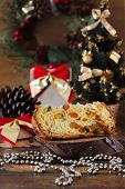 Piece Of Panettone - Sweet Bread Loaf With Fruit Traditional For Christmas And  New Year
