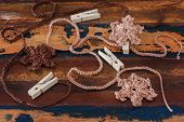 Colorful Crochet Snowflakes For Christmas Decoration Of Chaplet With Pin