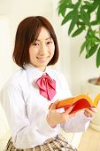 high school student with a book