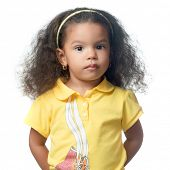 Serious small african american girl isolated on white