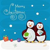 Cute penguins holding football and gift box on Christmas night view background for Merry Christmas celebrations.