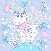 Cute goat on a meadow
