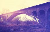picture of arch foot  - Retro vintage filtered picture of an arch bridge - JPG