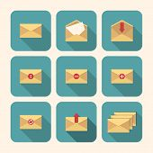 Mail Icon Set In Flat Design