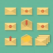 Yellow Mail Icon Set In Flat Design Style