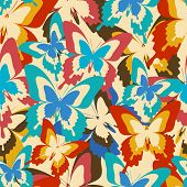Vintage Background Seamless Pattern With Colorful Butterflies