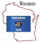 Wisconsin State Map And Flag