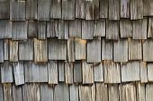 stock photo of shingles  - background of weathered cedar wood slat shingles - JPG