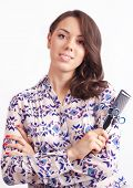 Girl Hairdresser With Scissors And Comb