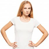 Woman at white background. Angry female isolated