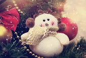 Funny Snowman Decoration On Christmas Tree Background