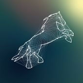 Magic White Abstract Horse. Connected Dots