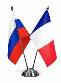 Russia and France  - Miniature Flags.