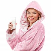 Beautiful Blonde Girl In A Bathrobe With A Glass Of Milk