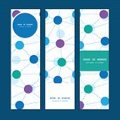 Vector connected dots vertical banners set pattern background