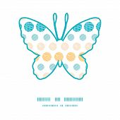 Vector texture circles stripes abstract butterfly silhouette pattern frame