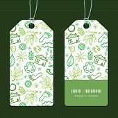 Vector ecology symbols vertical stripe frame pattern tags set