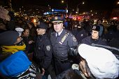 NYPD supervisors confront demonstrators