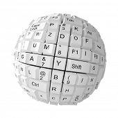 Random keyboard keys forming a sphere